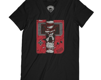 Skull t-shirt gamer t-shirt hard core t-shirt grunge t-shirt beast t-shirt zombie t-shirt video gamer shirt old school t-shirt   APV60