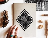 Pointing North Journal | hand pressed block print notebook, recycled paper, wander print