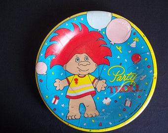 "Vintage 1992 Party Troll  4 Sets 8 7"" Paper Plstes 1 Pckg Napkins NIP"