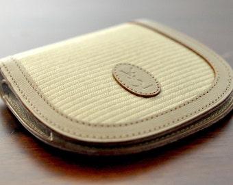 vintage 80s YSL Yves Saint Laurent Paris beige / tan striped vinyl canvas leather coin purse / pouch, authentic certificate & #no