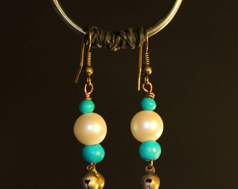 Blue and White Earrings with Bronze Bells