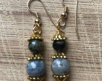 Durmortierite Earrings, Grey Opal Earrings, Beaded Earrings
