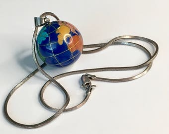 Vintage sterling silver and gemstone necklace, World pendant multi gemstone