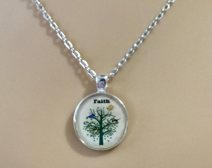Mustard Seed Jewelry, Faith Jewelry, Mustard Seed Necklace with silver chain, Cream white and SilverTree of Life Necklace, Matthew 17:20