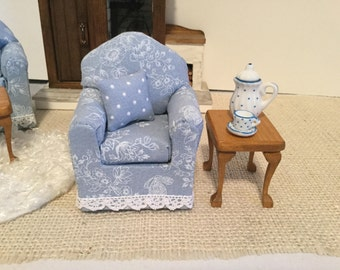 NEW  Blue Chair Trimmed in Lace for 1:12 Scale Dollhouse