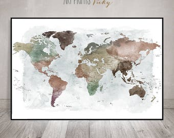world map art poster with country names | ArtPrintsVicky.com