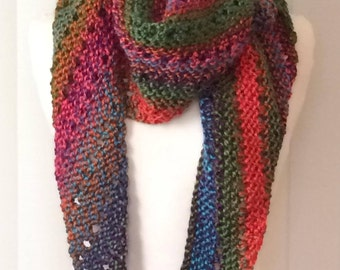 Hand Knitted Asymmetrical Scarf/Wrap