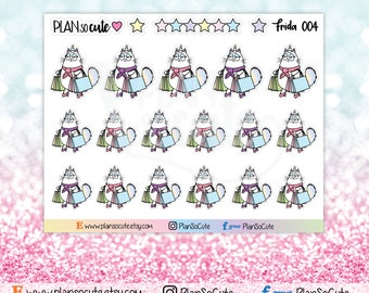Frida goes Shopping Stickers, Caticorn Stickers, Planner Stickers -004