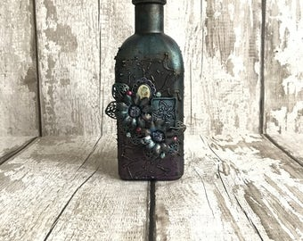 Glass bottle, Altered bottle, Victorian bottle, Mixed media bottle, Glass vase, Flower bottle, Metallic bottle, Purple bottle, Gold bottle.
