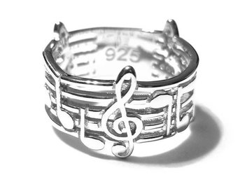 Music Ring, Silver Music Ring, Sterling Silver Ring, 925 Sterling Silver Ring, Music Jewelry, Music Note Ring, Music Notes Ring