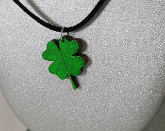 Wooden Green Four Leaf Clover Necklace / Laser Engraved Wood / Bronze or Gold Chain or Black Leather Cord Options