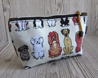 Dogs print Make up bag, Makeup bag, Cosmetic bag, Toiletry storage, Zip pouch, Pencil case, Dog lover gift