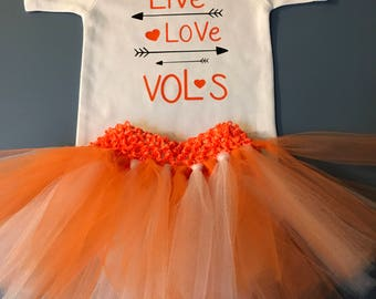 Tennessee baby etsy tennessee volunteers live love vols baby onesie bodysuit wtutu custom name on back negle Choice Image