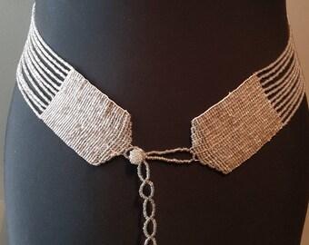 Vintage 1970's 70's silver glass beaded belt