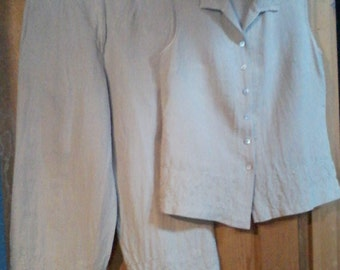 Vintage Linen Shirt & Capri Pant Set