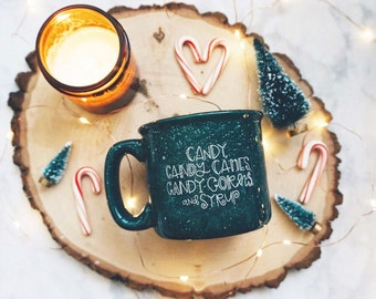 Candy, Candy Canes, Candy Corns, and Syrup / Winter / Green Campfire Mug