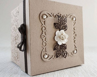 Shabby Chic Wedding Invitation, Kraft Wedding Exploding Box, Minimalistic Kraft Paper Invite, Boxed Wedding Invitation