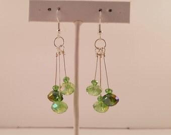 Peridot Green and Silver Earrings