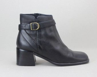 90s black leather minimalist buckle ankle boots