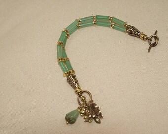 Romantic bracelet double strand, green aventurine, Vintaj brass