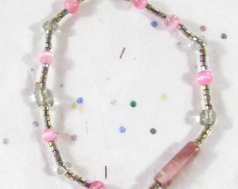 Pink Cat Eye Beads & Metallic Seed Bead Bracelet, Rhodochrysolite Gemstone Jewelry, Shades of Pink Beaded Stretch Bracelet - Disability Gift