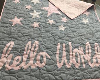 Hello World baby quilt.