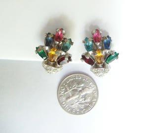 Signed Bogoff Earrings - Multi Colored Earrings - Vintage  - Clip On