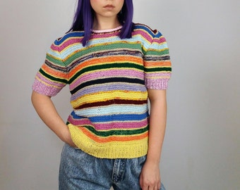 Vintage 80's Handmade Striped Rainbow Knit Short Sleeves Top/ Puffy Sleeves Knit Top | Size M-L