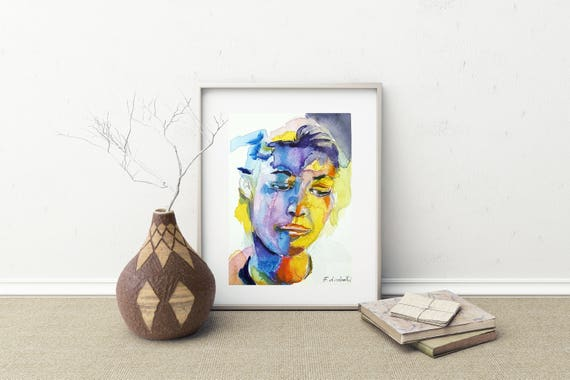 Woman face, intense expression, colored portrait, watercolor, copy of author, elegant present, modern art, contemporary, home decore, lounge
