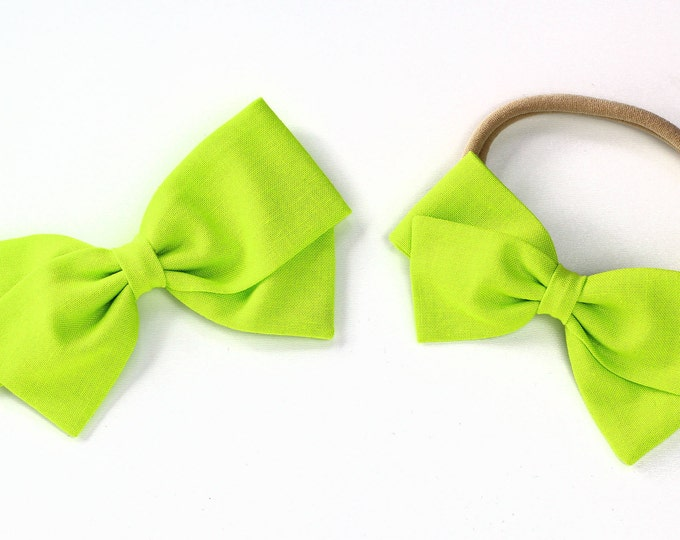 Bright Green bow - Hair Bow for Girls - Hair Clips and Headbands