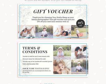 Gift voucher template, Gift voucher printable, Gift voucher download, Photography voucher, Photographer, Card, Discount, Sale, Marketing