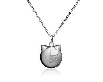 Sterling Silver Cat Necklace With Heart.