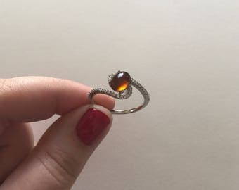 Vintage Orange Topaz Cabochon White Topaz Accent 925 Sterling Silver Swirl Ring