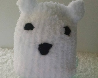 Fuzzy baby polar bear hat