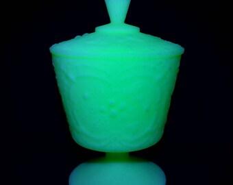 Vintage Fenton Burmese Glass UV Light Sensitive Lime Green Satin Glass Candy Jar with Lid
