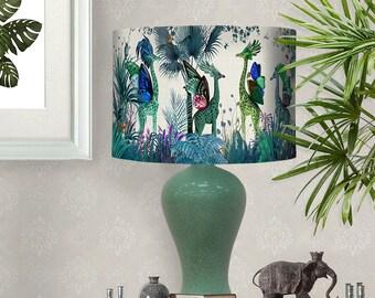 Lamp shade Tropical Giraffes Blue drum lampshade giraffe decor jungle tropical decor nursery lampshade blue lampshade blue room lighting
