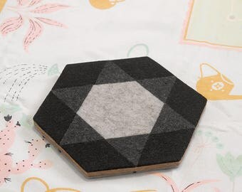 MOD ILLUSION Felt/Cork Trivet – REVERSIBLE Geometric Hex Tile Pattern, Tabletop Teapot Hot Pad, Small Kitchen Gift, Modern Minimalist Design