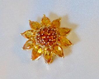 Vintage Golden Citrine Sunflower Pin Pendant