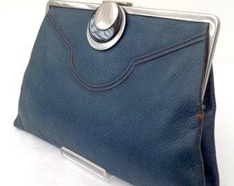 1920s Art Deco chrome & leather purse bag clutch vintage antique