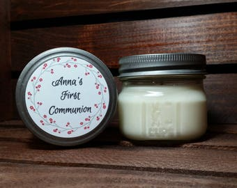 12 - 4 oz Communion Favors -  Soy Candles Handmade - Baptism Favors - Christening Candles - Baptism Gifts - Mason Jar Favors - Candle Favors