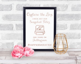 Wedding Hashtag Sign, Oh Snap Wedding Sign, Wedding Instagram Sign, Wedding Snapchat Sign, Gold Foil Wedding Sign, Capture the Love Sign