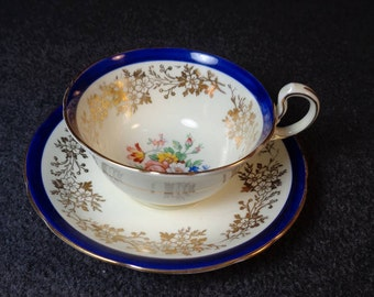 Antique Aynsley Cobalt Blue tea cup and saucer, English tea cup set, Cobalt blue and gold tea cup set with flowers