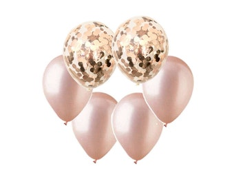ROSE GOLD Balloon Mix - Rose Gold Confetti + Rose Gold Balloons - Set of 6 (12 inches / 30cm)