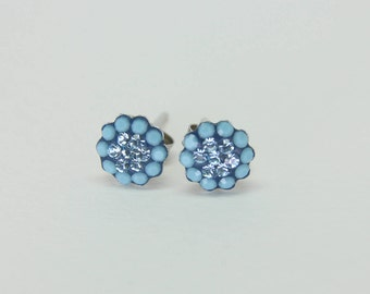 Pave  Flower Silver Stud Earrings, Swarovsky Crystals, 7mm Flower, Turqoise & Aquamarine Color, Unique BlingBling Korean Style