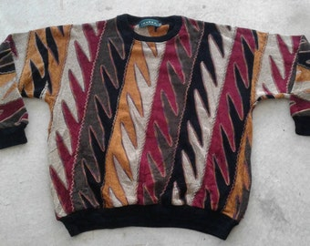 Vintage 80's / 90's Tundra Textured 3D Made in Canada Oversized Knit Sweater XXL