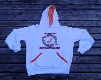 Vintage & Rare 80's Windsor Compuware Spitfires OHL white hooded sweatshirt Made in Canada large