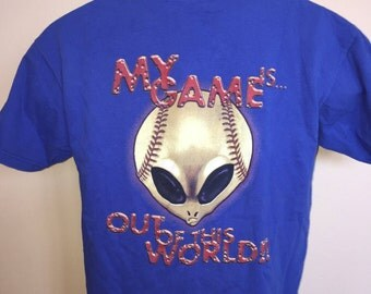 90s No Rules Alien UFO Shirt Vintage Tee Baseball MLB My Game Is Out of This World Playoffs Sport Martian Face Outter Space X-Files Large L