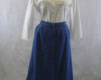 80's 90's Flat Front Button Front Medium Blue Denim Skirt | Size Small- Medium | Midi Length | Below Knee | Elastic Back