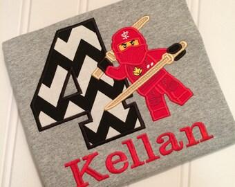 Ninja Lego embroidered shirt, Ninjago embroidered birthday shirt