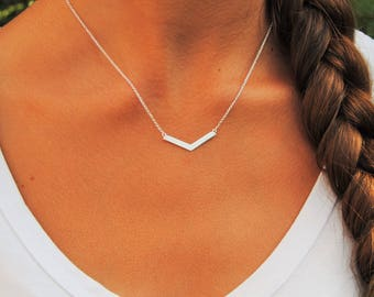 Chevron Bar Necklace | Sterling Silver | Layering Necklace | Chevron Necklace